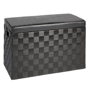 Black Paperweave Storage Ottoman