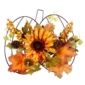 Metal Pumpkin Hanger with Faux Orange Bouquet