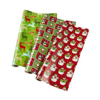 Green/Red Wrapping Paper Rolls, Set of 3