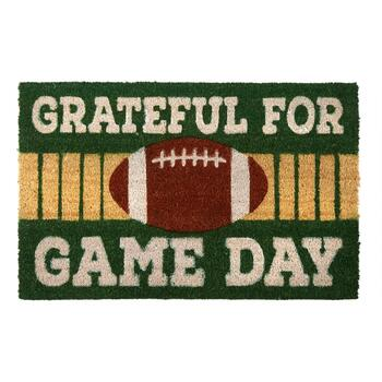 "18""x28"" ""Grateful For Game Day"" Football Coir Door Mat"