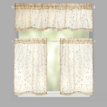 Metallic Leaves Rod Pocket Window Tier & Valance Set