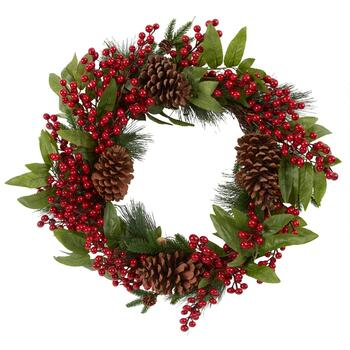 "22"" Red Berry and Pinecone Wreath"