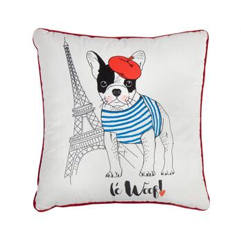 """Le Woof"" Square Throw Pillow"
