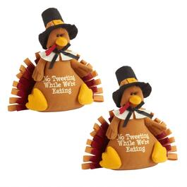 """No Tweeting While We're Eating"" Turkey Sitters, Set of 2"