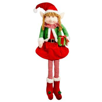"68"" Sitting Christmas Elf Girl with Red Hat"
