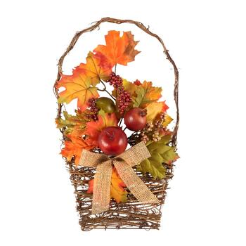 "20"" Berries and Leaves Twig Basket Wall Decor"