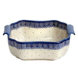 Scroll Dot Polish Pottery Square Bowl with Handles