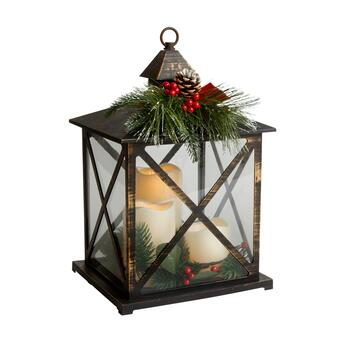 "14"" Winter Berry LED Pillar Trio Candle Lantern"
