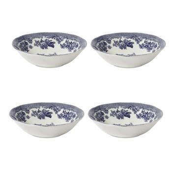 Pheasant Blue Cereal Bowls, Set of 4