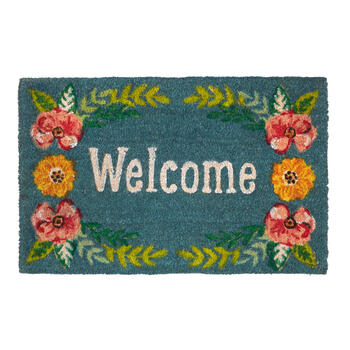"""Welcome"" Spring Floral Wreath Coir Door Mat view 1"