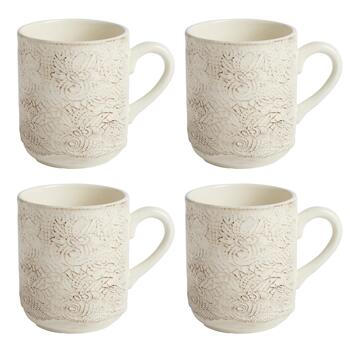Cream Antique Lace Handmade Ceramic Mugs, Set of 4