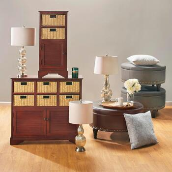 Basket Furniture, Glass Lamps & Storage Ottomans