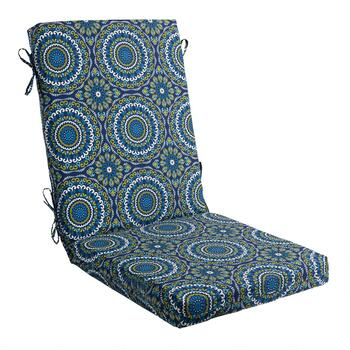 Blue Medallion Indoor/Outdoor Hinged Chair Pad