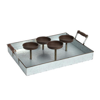 4-Pillar Galvanized Metal Tray Candle Holder view 1