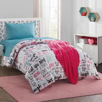 Twin XL Sabine Love Typography Comforter Set, 16 Piece
