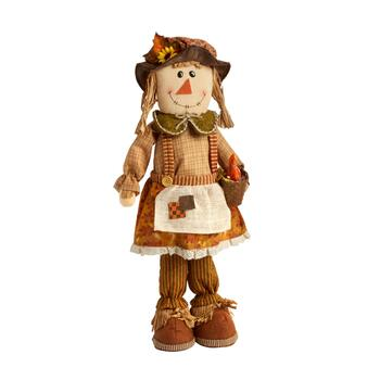 "22"" Orange/Green Standing Scarecrow Girl with Basket"