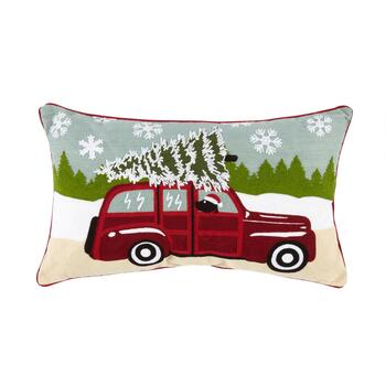 Christmas Tree Truck Crewel Cotton Oblong Throw Pillow