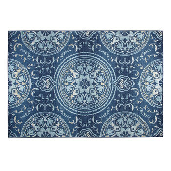 7'x10' Blue Circular Medallion Printed Area Rug view 1