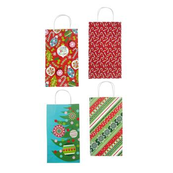 "14"" ""Sleigh Bells Rings"" Assorted Holiday Gift Bags, Set of 4"