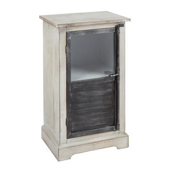 White Wood/Metal 1-Door Storage Cabinet view 1