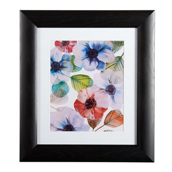 "12""x14"" Large Red/Blue Flowers Framed Wall Art"