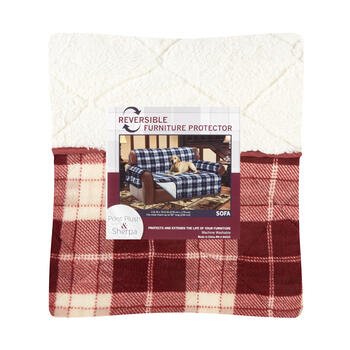 Lodge Plaid/Sherpa Reversible Sofa Cover view 1
