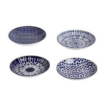 "7.5"" Blue/White Patterned Salad Plates, Set of 4"