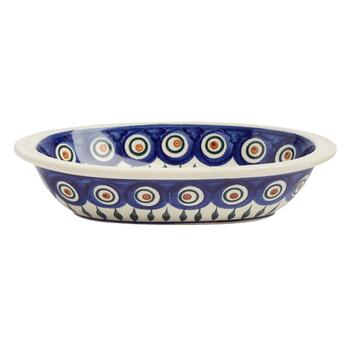 Polish Pottery Peacock Feathers Small Oval Vegetable Bowl