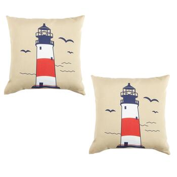 Lighthouse Indoor/Outdoor Square Throw Pillows, Set of 2