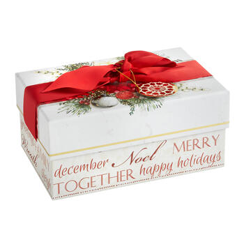 """Noel"" Holiday Gift Box with Red Bow view 1"