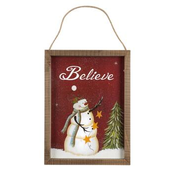 "16"" ""Believe"" Snowman Wood Frame Wall Hanger"