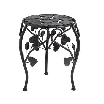 Short Leaf Scrolling Metal Round Plant Stand view 1