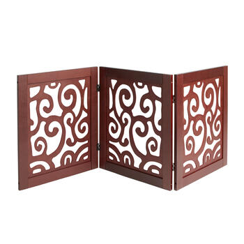 Brown Wood Scroll Folding Pet Gate view 1