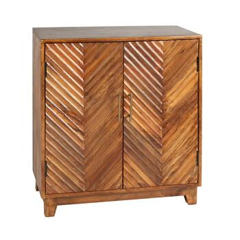 Chevron Wood 2-Door Storage Cabinet
