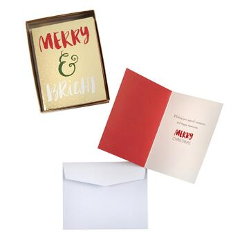 """Merry & Bright"" Gold Christmas Cards, 30-Count"