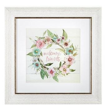 "12"" ""Welcome Friends"" Floral Wreath Framed Wall Decor"