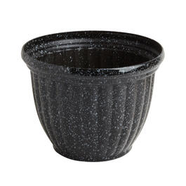 Gray Speckled Rib Glazed Resin Planter Pot view 1