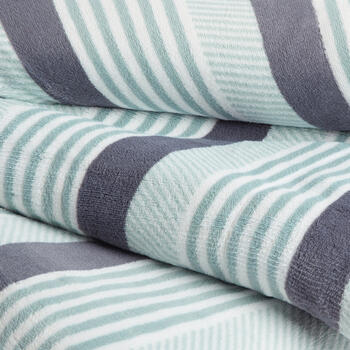 Teal/White/Gray Turk Striped Throw view 2