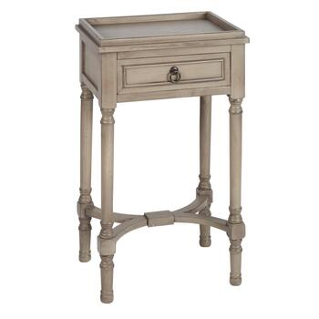 1-Drawer Tray Top Wood Accent Table