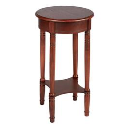 Dark Cherry Wood Round Accent Table
