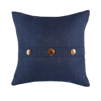 Solid Dark Blue Woven Indoor/Outdoor 3-Button Square Throw Pillow view 1