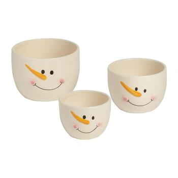 3-Piece White Holiday Treats Embossed Bowls, Set of 2