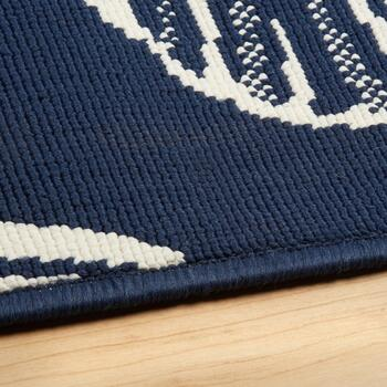 Midnight Blue Seashells All-Weather Area Rug view 2 view 3