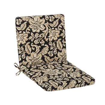 Black/Beige Floral Scroll Indoor/Outdoor Mid-Back Chair Pad view 1
