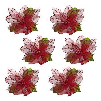 Poinsettia Clip-On Ornaments, Set of 6