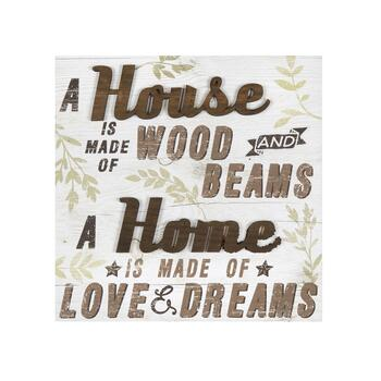 "18"" ""Home Is Made of Love & Dreams"" Canvas/Wood Wall Decor"