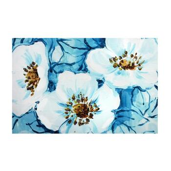 "24""x36"" Blue/White Flowers Lacquer Canvas Wall Art"