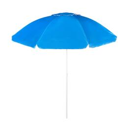 7' Blue/White Crank/Tilt Beach Umbrella