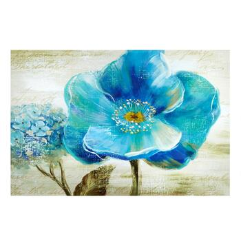 "24""x36"" Hand-Painted Teal Flower Canvas Wall Art"