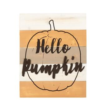 "16""x20"" ""Hello Pumpkin"" Wood Plank Wall Decor"
